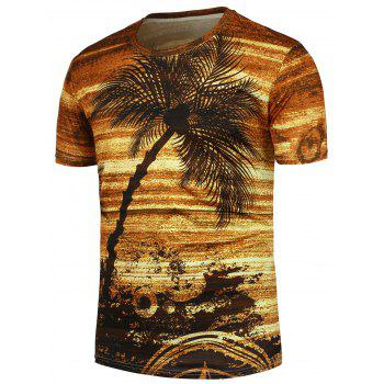 Crew Neck Coconut Palm Pattern T-Shirt