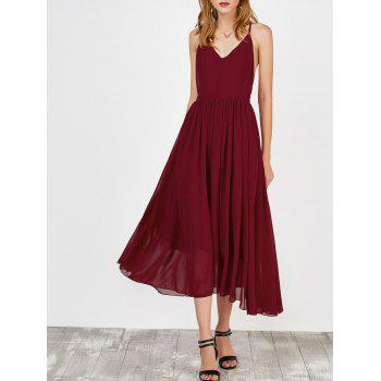 Plunging Neck Self Tie Backless Maxi Dress