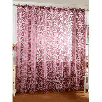 Flower Embroidered Grommet Roller Tulle Curtain - PURPLISH RED PURPLISH RED