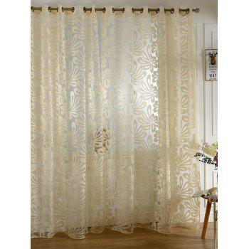 Flower Embroidered Grommet Roller Tulle Curtain - BEIGE BEIGE