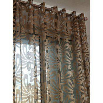 Flower Embroidered Grommet Roller Tulle Curtain - COFFEE 100*250CM
