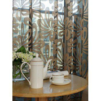 Flower Embroidered Grommet Roller Tulle Curtain - COFFEE COFFEE