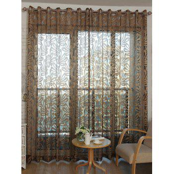 Flower Embroidered Grommet Roller Tulle Curtain