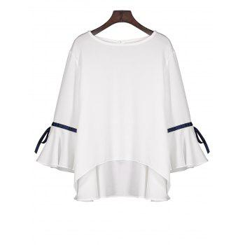 High Low Flare Sleeve Chiffon Blouse
