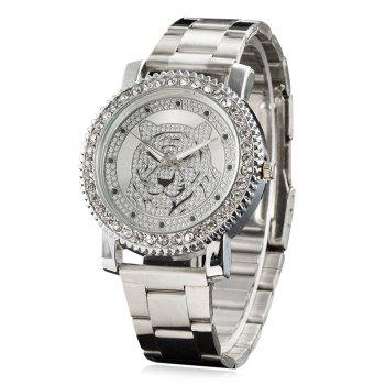 Rhinestone Tiger Head Analog Watch