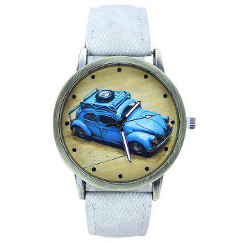 Faux Leather Cartoon Car Analog Watch - WHITE WHITE