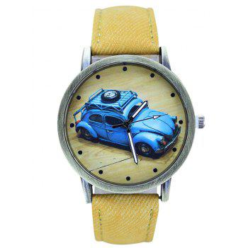 Faux Leather Cartoon Car Analog Watch - YELLOW YELLOW
