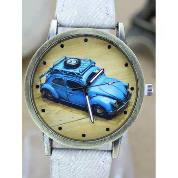 Faux Leather Cartoon Car Analog Watch -  GREEN