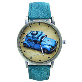 Faux Leather Cartoon Car Analog Watch - GREEN GREEN