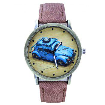 Faux Leather Cartoon Car Analog Watch - PINK PINK