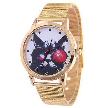 Mesh Band Cartoon Cat Analog Watch