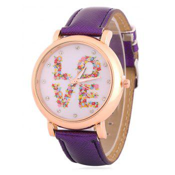 Rhinestone Floral Love Analog Watch