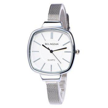 Mesh Alloy Band Square Watch
