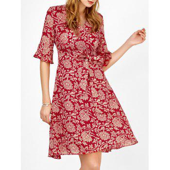 Floral Print Bell Sleeve Self Tie Surplice Dress