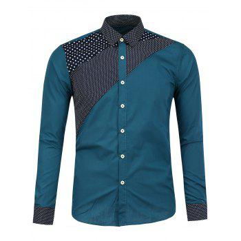 Long Sleeve Polka Dot Insert Shirt - BLUE GREEN BLUE GREEN