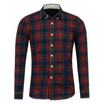 Button Down Breast Pocket Plaid Shirt - RED RED