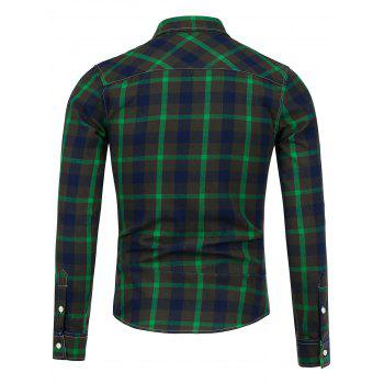 Button Down Breast Pocket Plaid Shirt - GREEN GREEN