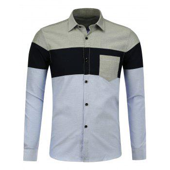 Color Block Breast Pocket Shirt