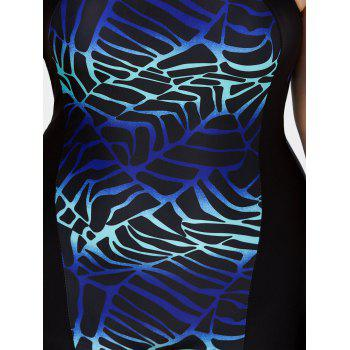 Plus Size Padded Boyshort One Piece Tank Swimsuit - BLUE 5XL