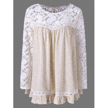 Plus Size Lace Panel Flounce Blouse