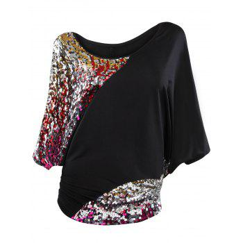 Skew Collar Batwing Sleeve Sequin T-Shirt