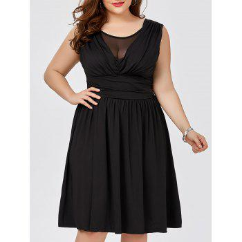 Plus Size Mesh Panel Ruched Knee Length Dress