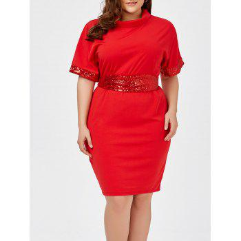 Plus Size Sequined Belted Knee Length Dress