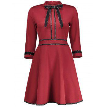 High Neck Striped Bowknot Embellishment Dress
