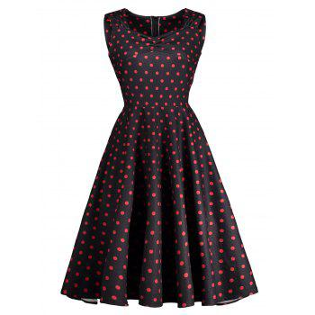 Vintage Sweetheart Neck Ruched Polka Dot Dress