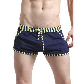 Striped Edging Lace Up Home Shorts