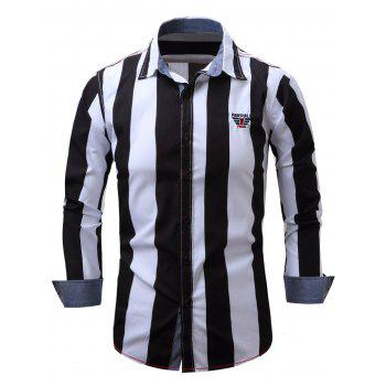 Embroidered Design Vertical Striped Shirt - BLACK BLACK
