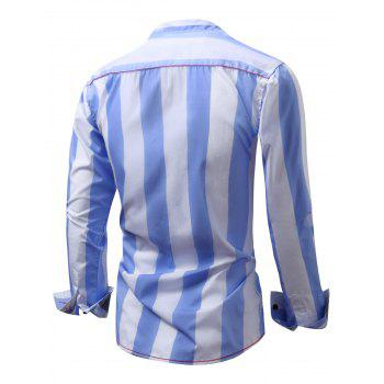 Embroidered Design Vertical Striped Shirt - L L