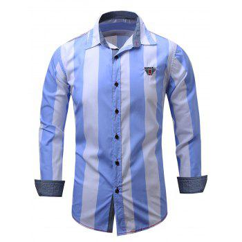 Embroidered Design Vertical Striped Shirt - CLOUDY L