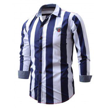 Embroidered Design Vertical Striped Shirt - M M