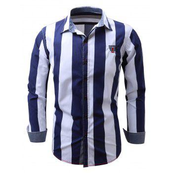Embroidered Design Vertical Striped Shirt