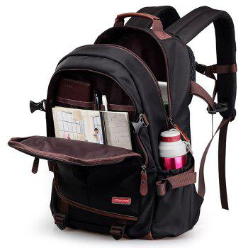 Casual Pad Straps Mesh Panel Backpack -  BLACK