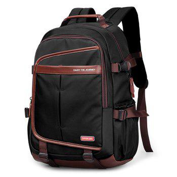 Casual Pad Straps Mesh Panel Backpack - BLACK BLACK