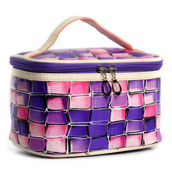 Color Blocking Zip Around Cosmetic Bag - PURPLE PURPLE