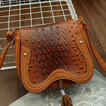 Crocodile Embossed Tassel Crossbody Bag