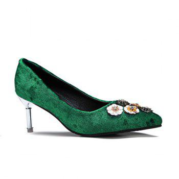 Rhinestones Velvet Pointed Toe Pumps