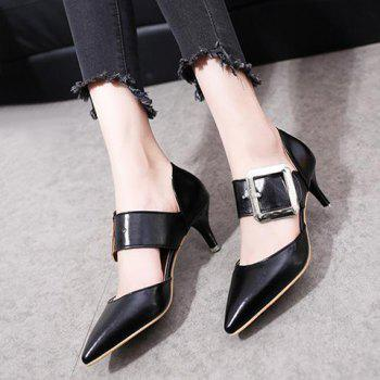 Pointed Toe Buckle Strap Pumps - BLACK 37