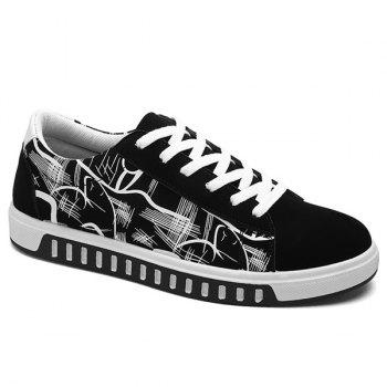 Line Printed Faux Suede Casual Shoes