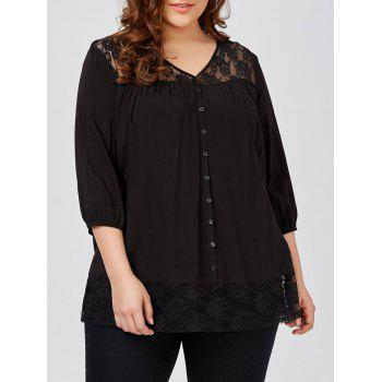 Plus Size Lace Trim Smock Blouse