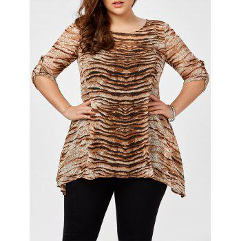 Buy Plus Size Tiger Stripes Asymmetrical Blouse TIGER PRINT