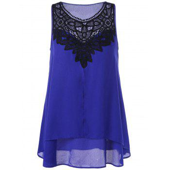 Crochet Trim High Low Hem Sleeveless Blouse