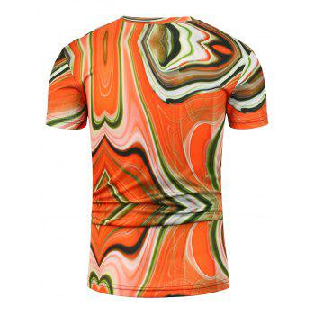 Irregular Geometric Print Trippy T-Shirt - COLORMIX L