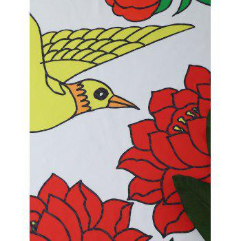 Bird Peony Print Round Beach Throw - COLORMIX ONE SIZE