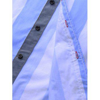 Embroidered Design Vertical Striped Shirt - CLOUDY CLOUDY