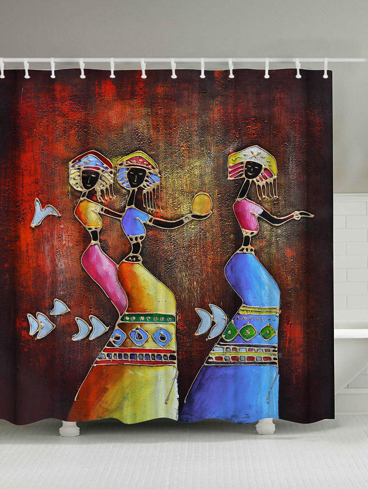 Ethnic Mural Art Anti-bacteria Fabric Shower Curtain