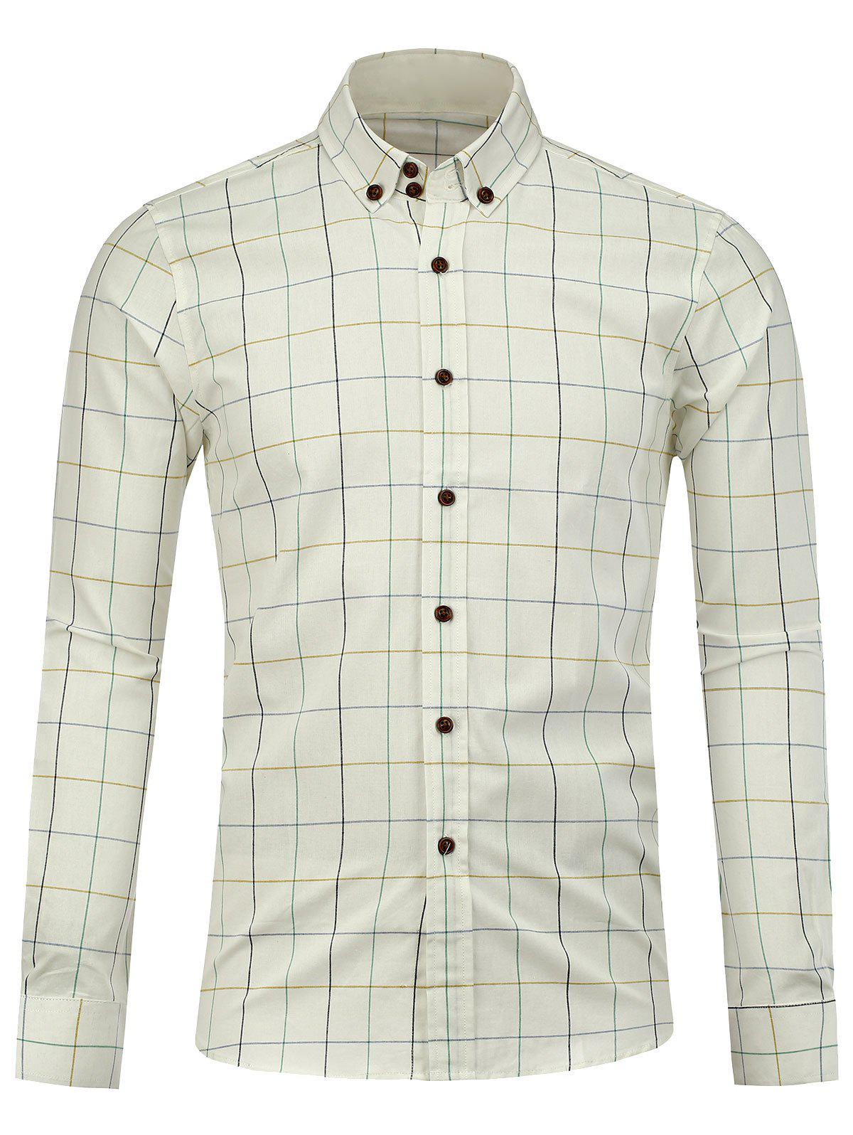 Button Down Checked Shirt - WHITE M